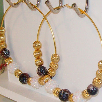 Purple and Gold POParazzi Hoop Earings Basketball by StrictlyCute