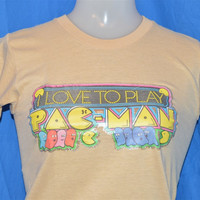 """80s Pac-Man """"Love to Play"""" Arcade Video Game Glitter Iron On t-shirt Extra-Small"""