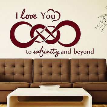 Wall Decal Quotes I Love You To Infinity Decal Bedroom Vinyl Sticker Decor MR604
