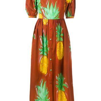 Sierva Pineapple Print Off-Shoulder Dress - TATA NAKA