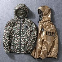 BAPE Jacket Gold Camouflage Men Strong Character Double Sided Windbreaker [58365673484]