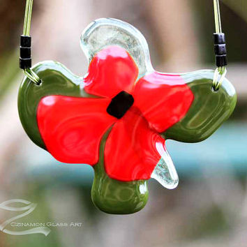 Mother's day gift, Poppy flower, poppy necklace, fused glass pendant, unique handmade pendant, mother's day