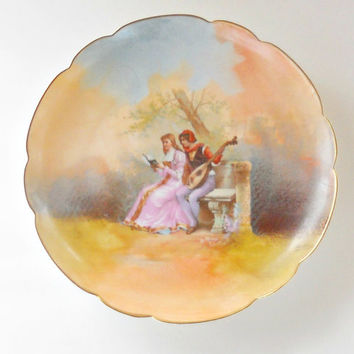 Antique Limoges LRL Pictoral Cabinet Plate, Artist Signed, Charger, Wall Plaque, French Shabby Cottage, Brahic, Ca. 1920's, Bisque Porcelain