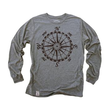 Mariner's Compass: Unisex Tri-Blend Long Sleeve T-Shirt in Heather Grey