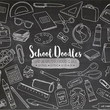 Chalkboard School Clipart. Hand Drawn Chalk Texture School Supplies. White Doodle Teacher, Student, Backpack, Office, Stationery Clipart.