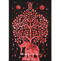 Small Red  Black Elephant  Tree Fabric Tie Dye Throw Tapestry Bedspread on RoyalFurnish.com