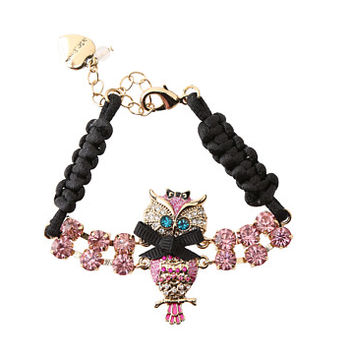 Betsey Johnson Enchanted Owl Rhinestone Bracelet