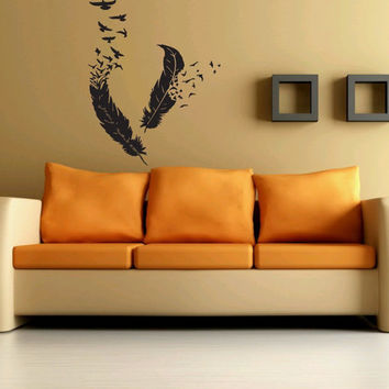 Awesome Gift Wall Decor Art Vinyl Sticker Decal Two Feather Flock Of Birds 297