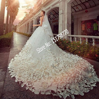 Beaded shiny Crystal Tulle Luxury Bridal Gown with flower Cathedral Train Lace Applique 2017 Gorgeous White Wedding Dresses 3288