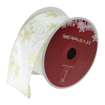 """Pack of 12 Sparkling Gold Snowflakes Printed White Wired Christmas Craft Ribbon Spools - 2.5"""" x 120 Yards Total"""
