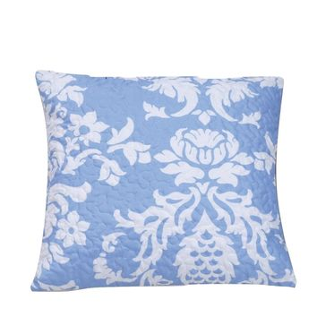 """DaDa Bedding Enchanted Breeze Victorian Elegant Quilted Pillow Cushion Cover Accent Case Set - Jacquard Floral Light Blue & White Print - 18"""" x 18"""" - 2-Pieces"""