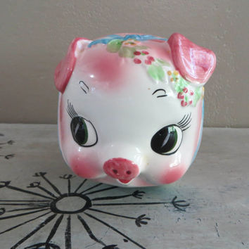 Pink Piggy Bank Wales Piggy Bank with Flowers and Bow Made in Japan