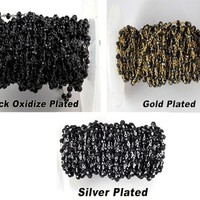 Black Spinel 3.5-4mm Rondelle faceted Black Oxidize Gold Plated Silver Plated Chain Handmade Link Chain, Wire Wrapped Rosary Chain Beads