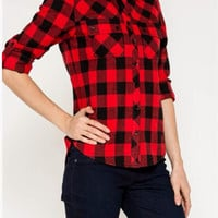 Red & Black Plaid Flannel Blouse
