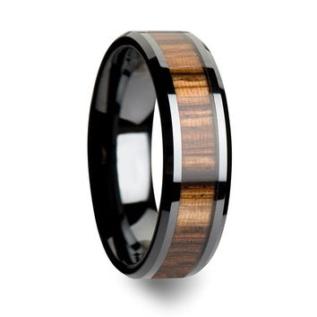 Genuine Zebra Wood Inlaid Black Ceramic Wedding Band For Men & Women 4mm-10mm