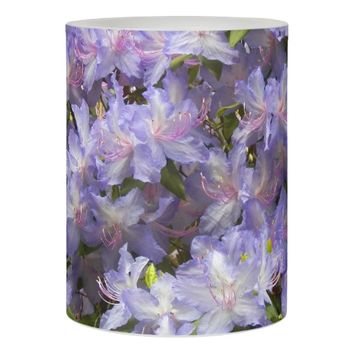 Purple Rhododendron Blossoms Floral Photo Flameless Candle