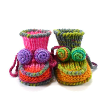 Knitted Baby Booties - Pink, Green and Yellow, 3 - 6 months
