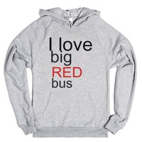 I love big red bus-Unisex Heather Grey Hoodie