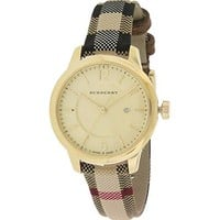 Burberry Gold Dial Stainless Steel Leather Textile Quartz Ladies Watch BU10104