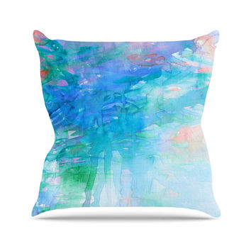 "Ebi Emporium ""Childlike Wonder"" Blue Pastel Outdoor Throw Pillow"