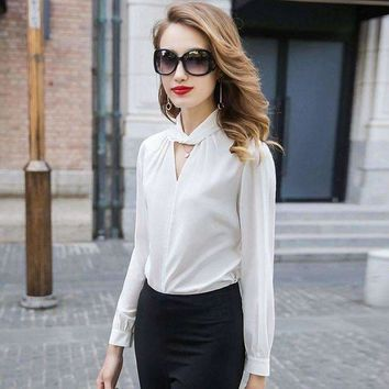 VONE05F8 100% Silk Blouse Women Shirt Vintage Design Hollow Out O Neck Long Sleeve Solid Office Top Graceful Style New Fashion 2018