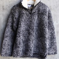 two tone sherpa half-zip pullover - charcoal