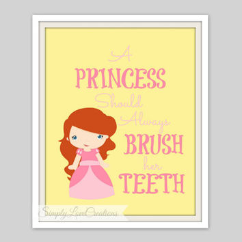 "Princess Bathroom Prints  - ""A Princess Should Always Brush her Teeth"" - Bathroom Decor -Cinderella, Belle, Snow White, Jasmine, Aurora"