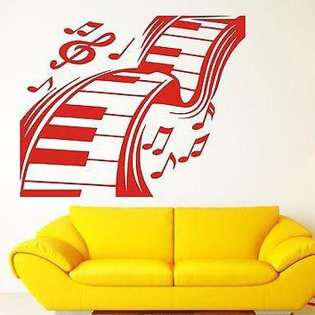 Wall Vinyl Sticker Decal Music Keyboard Keys Music Notes Treble Clef Unique Gift (n193)