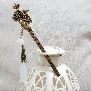 Bookmark handmade  hair stick vintage white  crystal flower  bronz gift for her traditional Asian style Chinese  birthday valentine gift