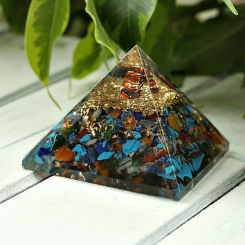 NEW! Orgone PYRAMID with Chakra Crystals - Large Size