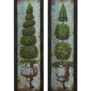 Antique Metal Wood Wall D'cor 2 Assorted
