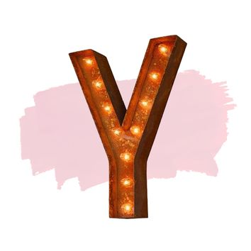 "24"" Letter Y Lighted Vintage Marquee Letters (Modern Font/Rustic)"