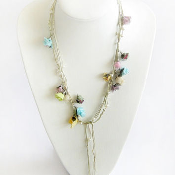 Long lariat fabric necklace fabric flowers romantic boho chic pearl beaded butterflies