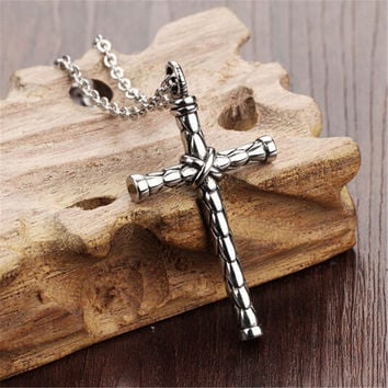 Mens Womens Old Silver Hademade Cross Pendant Necklace Lover Best Gift
