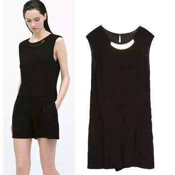 Stylish Round-neck Sleeveless Metal Slim Jumpsuit Women's Fashion Romper [5013274884]
