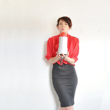 red bow tie blouse . neck tie ascot secretary shirt .medium .sale s a l e
