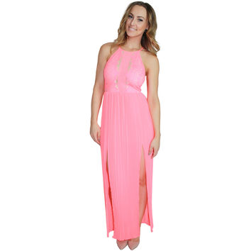 Lace Contrast Pleated Maxi Dress in Neon Pink