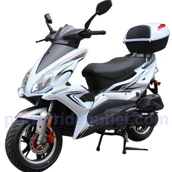 PRO F48-Sports 4 Stroke 150cc Scooter with Honda GY6 Clone Engine, 12 inch Aluminum Wheels, L.E.D Lights, Newly design Body Style, Fully Assembled Package (Free Rear Trunk)