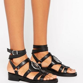 ASOS FOREMOST Leather Flat Sandals at asos.com