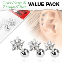 Set of 3 Star Top Tragus Barbell 316L Surgical Steel Cartilage Bar Helix Piercing 16g