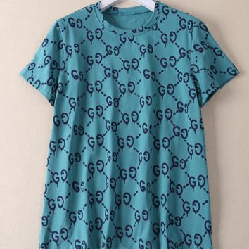 Gucci round collar short sleeve top blouse T-shirt