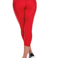 HEART BUTT™ YOGA CAPRI - CRIMSON RED
