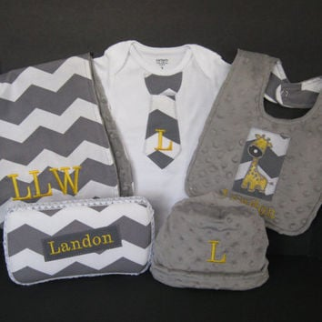 Bodysuit Bib Burp Cloth Wipes Case Hat Baby Boy Chevron Personalized Monogrammed