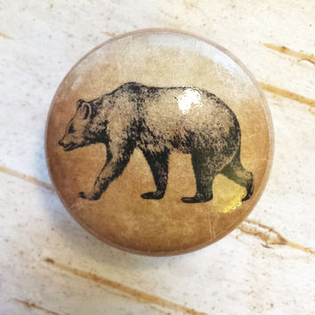 "Bear Birch Knobs, Handmade Drawer Pulls, 1.5"" Wildlife Cabinet Pull Handles, Dresser Knobs, Lodge Decor, Made To Order"