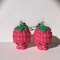 Shopkins Foodie Earrings - Asbury Raspberry (red) - made with repurposed toys