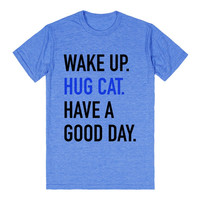 WAKE UP HUG CAT HAVE A GOOD DAY T-SHIRT BLUE BLACK (IDA020320)