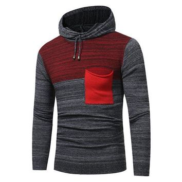 Mens Fashion Hooded Warm Slim Fit Pullover Knit Sweater