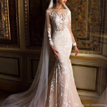Quality Mermaid Wedding Dresses Full Sleeves Embroidery applique Illusion Sexy Wedding Gown