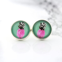 pineapple stud earrings, fake plugs, neon pink, digital art print, bohemian
