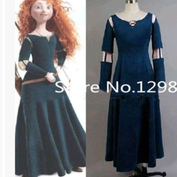 Princess Merida  Brave Merida Cosplay Dress Adult Costume -playing Party Halloween Costumes Custom